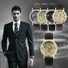 Luxury Men Hollow Skeleton Manual Mechanical Stainless Steel Wrist Watch OH