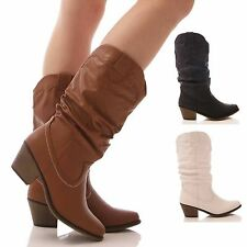 LADIES WOMENS COWBOY WESTERN BOOTS MID CALF SLOUCH FAUX LEATHER CASUAL SIZE 3-8