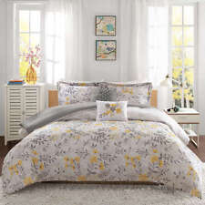 BEAUTIFUL SUMMER FLORAL GREY YELLOW 5-PC COMFORTER SET FULL/QUEEN TWIN