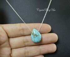 Genuine Turquoise Necklace - Sterling Silver Teadrop Turquoise Necklace - Simple