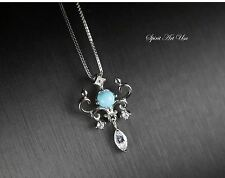 Tiny Turquoise Necklace, Sleey Beauty Turquoise Pendant, Full Sterling Silver CZ