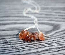 Fire Sunstone 925 Sterling Silver Necklace Genuine Sunstone Chips Necklace Earri