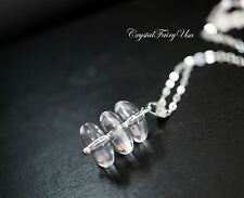 Natural Dish Clear Quartz Necklace in Sterling Silver Tiny Silver Stone Necklace
