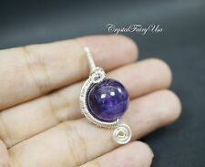 Wire Wrapped Amethyst Pendant - Sterling Silver Amethyst Necklace - Amethyst Jew