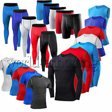 Mens Compression Baselayer Body Skin Gym Vest T-Shirt Tight Gear Top Shorts Pant