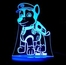 PAW PATROL CHASE PERSONALISE NAME LED NIGHT LIGHT LAMP 13 COLOUR CHILDREN'S ROOM