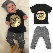 Newborn Toddler Outfits Kids Baby Boys Short T-shirt Tops+Pants Summer Sets