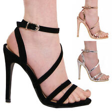 LADIES WOMENS HIGH HEELS SUMMER FASHION STRAPPY FORMAL PARTY EVENING SHOES SIZE