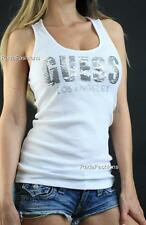 GUESS Los Angeles Silver Sequin Bling Rib Fitted Tank Top Racerback White