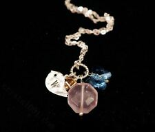 Faceted Rose Quartz Necklace in Sterling Silver Initial  Personalized Bird