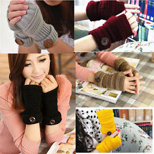 1pair Women Winter Wrist Arm Hand Warmer Knitted Long Fingerless Gloves Mittens