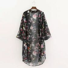 Women Blouse Sleeve Floral Asymmetric Hem Loose Chiffon Tops