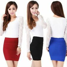 Women Pleated Skirt Candy Color Bottom Hip Mini A-line Chiffon Pencil