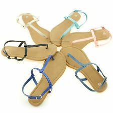 Womens New Sandals Size Fashion Flat Gladiator T Strap Thong Flip Flops Shoes