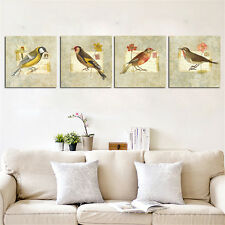 4PC Unframed Birds Canvas Painting Europe Wall Art for Living Room Unique Gift