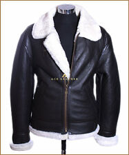 Mens B3 Classic Brown WW2 Shearling Sheepskin Aviator Bomber Real Leather Jacket