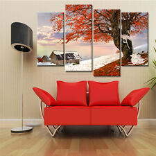 4PC Maple Leaves Snow Canvas Painting for Living Room Poster and Prints No Frame