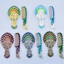 2pcs Oriental Vintage Mirror And Comb Set Hand Held Mirror Gift For Lady Peacock