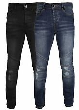 Mens Stylish Slim Stretch fit Jeans JUSTIN 28-38 Faded Pants Black Ripped AD