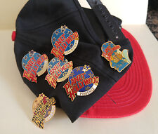 Lot of 6 -Planet Hollywood Pins and Orlando Planet Hollywood Hat