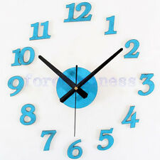 Vintage Antique Old Wooden DIY Wall Clock 3D Blue Roman Numbers Stickers Watches