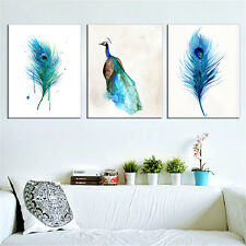 3PC Canvas Painting Peacock Wall Pictures Cuadros Blue for Living Room No Frame