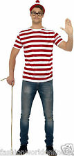 Party Costume Where's Wally Kit (T-Shirt Hat & Glasses)Adult Men's Fancy Dress