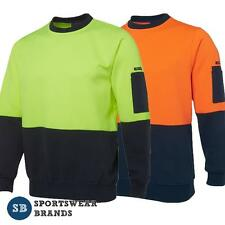 Mens Hi Vis Fleecy Crew Neck Jumper Pullover Size S-5XL Workwear Safety 6HVCN