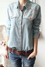 Womens Ladies Casual Denim Long Sleeve Classic Fitted Shirt Top Blouse S M L XL