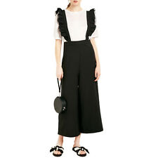 Women Sweet Ruffle Contrast Overalls Wide Leg Trousers Casual Jumpsuit Playsuits