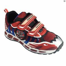 Geox J Shuttle B Boys Red / Royal Sporty Light Up Casual Trainers Size 26 - 34