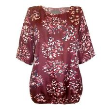 Ladies Plus Size Burgundy Blouse Womens Top Casual Tunic 18 - 32