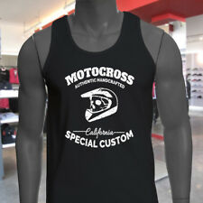 MOTOCROSS CALIFORNIA SKULL BIKER DIRT FREESTYLE Mens Black Tank Top