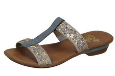 Rieker Gray Sparkle Slip On Mule Open Toe Ladies Sandal Beach Shoe Comfort