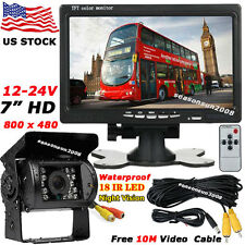 "12V-24V Bus Truck Parking Rear View Kit 18LEDs IR Backup Camera +7"" LCD Monitor"