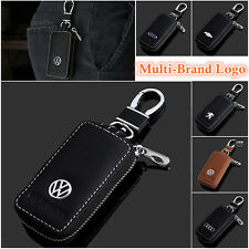 Multi-Brand Men Women Genuine Cow Leather Car Key Bag Chain Ring Zip Holder Case