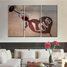 3PC No Frame Wine Glass Love Canvas Art Picture Modular Painting for Living Room