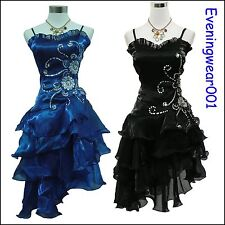 Cherlone Blue Black Prom Ball Party Cocktail Bridesmaid Formal Evening Dress