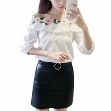 Korean Womens Off Shoulder Top with Lace Applique Ruffle 3/4 Sleeve Blouse Shirt