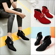 Faux Suede Small Med Heel Lady's Shoes Bow Zip Up Ankle Women Boots UK Size F91
