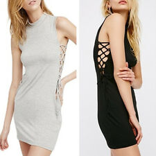 Women's Sexy Cut Out Cross Strap Sleeveless Party Club Sheath Bodycon Mini Dress