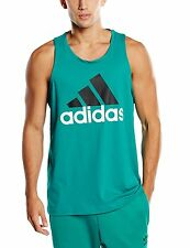 New adidas Mens Climalite Cotton Logo Tank Sz S to 2XL Green vest singlet