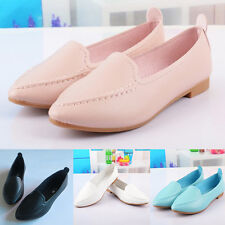 WOMENS LEATHER WEDGE SHOES LOAFERS SLIP ON COMFORT WALKING GRIP SOLE SIZE