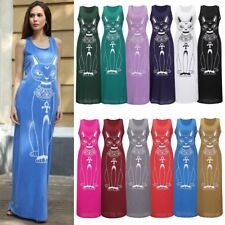 Womens Casual Cat Print Fashion Sleeveless Long Maxi Dress Beach Dress Sundress