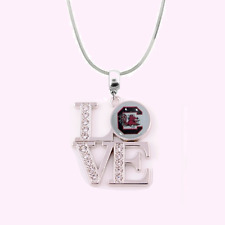 NCAA South Carolina Gamecocks 925 Sterling Silver Love Necklace With Rhinestones