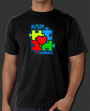 Autism Awareness Support Donate Puzzle Heart Design New Black T-Shirt S-6XL