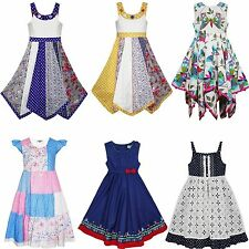 Domino Girls Dress Kids Patchwork Floral Butterfly Sleeveless Dresses 2-11 Years