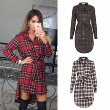 Fashion Women Plus Check Plaid Asymmetric Blouse Mini Shirt Dress Ladies Tops