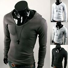 Jeansian Fashion Mens T-Shirts Top Slim Hooded Casual Sports Tee XS S M L D416