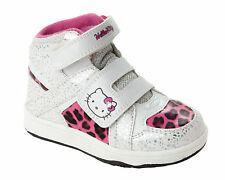 GIRLS HELLO KITTY WHITE PINK CASUAL HI TOP BASEBALL TRAINERS SHOES UK SIZE 8-2